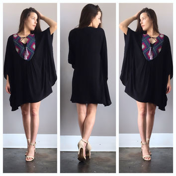 Colors of the Wind Kimono Dress in Black