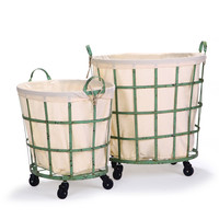 Round Rolling Laundry and Storage Baskets - Beige Lining / Window Pattern / Khaki Green (Set of 2)