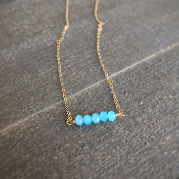 14k gold filled light blue jade faceted bead bar necklace / bridesmaid necklace / dainty / minimalist / August birthstone necklace