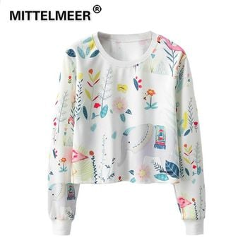KPOP BTS Bangtan Boys Army MITTELMEER 2019  Harajuku Kawaii Sweatshirt Woman girls crop top Cartoon Flamingo Elephant printing short Sweatshirt Hoodies AT_89_10