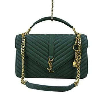 YSL Saint Laurent classic coarse grain green small sheepskin ancient gold chain shoulder bag (large)