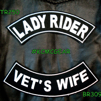 Lady Rider Vet's Wife Embroidered Patches Sew on Patches Motorcycle Biker Patch Set for Jackets