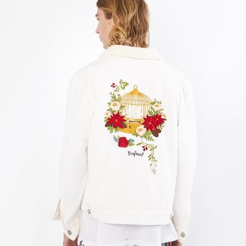 Caged Bird Shearling-Lined Denim Jacket in Off-White