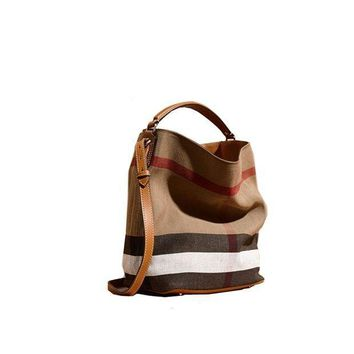 ESBON3F Fashionable Brand Burberry The Ashby - Medium Canvas Check Pattern Leather Eshibe Handbags Brown