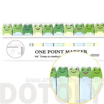 Small Green Frog Illustrated Cute Memo Post-it Index Tab Sticky Bookmarks | Cute Animal Themed Affordable Stationery