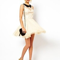 ASOS Lace Skater Dress with Pleated Skirt