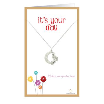 Moon Angel Birthday Card, Birthday Charm Necklace with Moon Angel Pendant