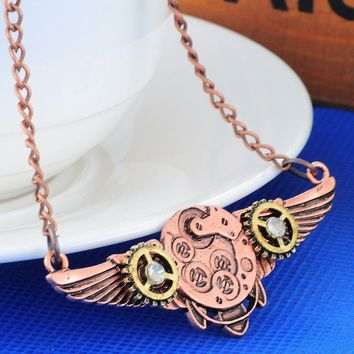 Steampunk Gears and Wings Necklace