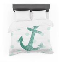 "Nika Martinez ""Glitter Anchor in Mint"" Teal Featherweight Duvet Cover"