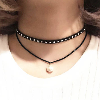 Women Pearl Pendant Necklace Leather River Choker + Gift Box 17