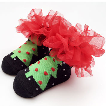 Lace Baby Christmas Winter Cotton Children Socks [8854575110]