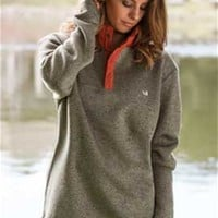 Gliks - Southern Marsh The Fieldtec Woodford Snap Pullover in Sandstone and Burnt Orange