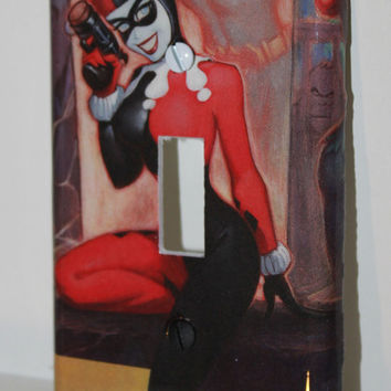 Batman Joker Harley Harlequin Comic Book Resin Switchplate Light Cover