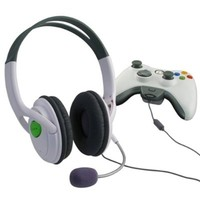 Insten Headset Headphone with Mic Compatible with Xbox 360 Wireless Controller, White