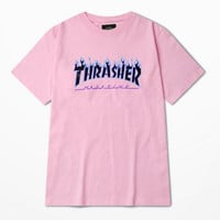 Thrasher Magazine Blue Flame Logo Pink & Blue T-Shirt