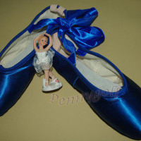 ballet professional satin pointe ribbon ties shoes Blue