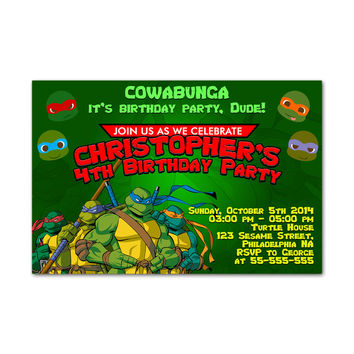 Teenage Mutant Ninja Turtles Kids Birthday Invitation Party Design
