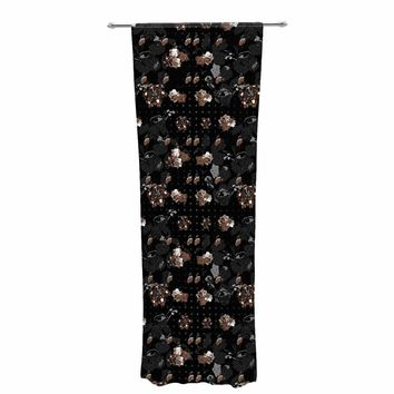 "Elena Ivan - Papadopoulou ""Floral Series - Goldy"" Black Gold Floral Pattern Digital Mixed Media Decorative Sheer Curtain"