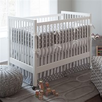 Gray and White Dots and Stripes Three-piece Crib Bedding Set