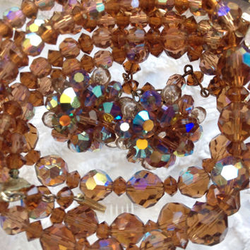 Amber Crystal Aurora Borealis Necklace Amber Crystal Earrings 1950s Matching Set Mid Century Glamour Mad Men Jewelry Perfect Gift