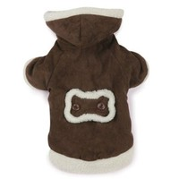 East Side Collection Polyester Hooded Sherpa Dog Coat, Medium, 16-Inch, Chocolate