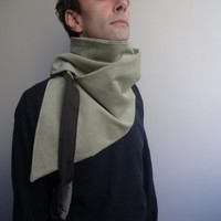 Men Scarf,  Asymmetric   Loop scarf, Unique  Accessory,Infinity Cotton Scarf, Pale Green Grey