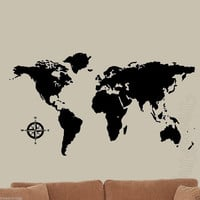 World Map Decal Wall Art World Globe with All Nations VWAQ-WMAP