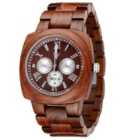 MEKU Handmade Mens Solid Wood Watch Multi Eye Hypoallergenic Wrist Watch Square Gift Watch for Him