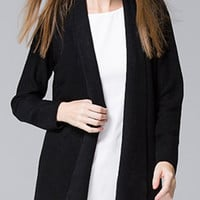 Black Collarless Long Sleeve Knitted Cardigan