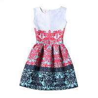 Color Block Ethnic Print Sleeveless Pleated Dress