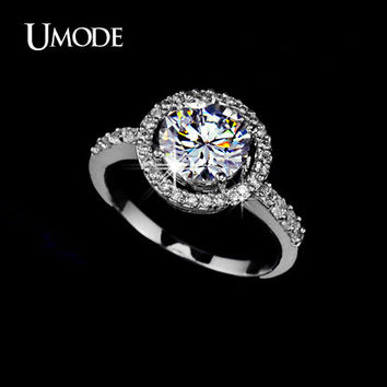 UMODE 2016 Stunning Prong Setting 2ct Hearts & Arrows cut Cubic Zirconia Aneis Halo Engagement Ring For Women UR0012