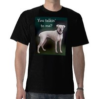White boxer dog on black T Tshirt from Zazzle.com
