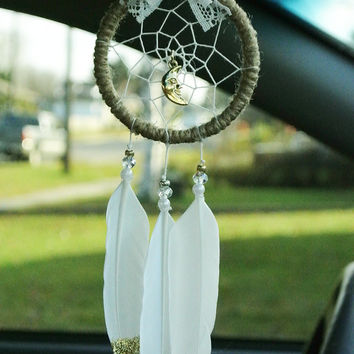 Gold Moon Car Dreamcatcher: Rearview Mirror Accessory, Interior Car Accessory, Rearview Mirror Car, Boho Car Decor, Gold Moon Charm