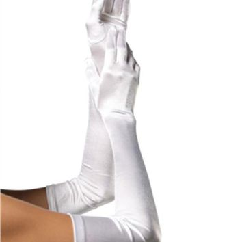 DCCKLP2 EXTRA LONG SATIN GLOVES in WHITE