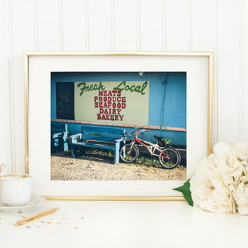 Fine art photography, Bike at Farmers Market, summer print, travel photograph, signage, North Carolina, Kure Beach, vintage style, blue 8x10