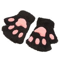 Fluffy BearCat Plush PawClaw Glove-Novelty soft toweling lady's half covered gloves mittens Valentine's Day Gift