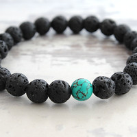 Turquoise Black Lava Bracelet Mens Black Beaded Bracelet Lava Turquoise Jewelry Meditation Yoga Bracelet Gift for Man Yoga Gifts Under 20