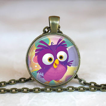 Glass Tile Pendant Owl Silver Necklace Glass Tile Pendant AnimalNecklace, Nature Owl Jewelry Pendant, 1 Inch Round Owl Necklace Gift