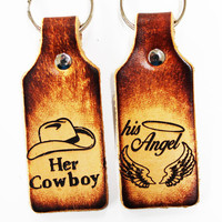 Cowboy Angel Leather Key Chains