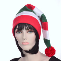 Candy Cane Long Stocking Cap Christmas in July  Red White Green Striped Mens Hat Womens Hat