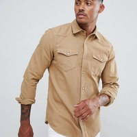 Pull&Bear Denim Western Style Shirt In Tan at asos.com