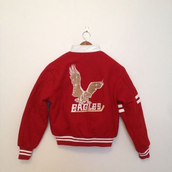 Vintage Wool x Leather Varsity Jacket /Hockey Jacket Red for girls