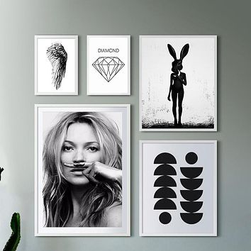 Cuadros Posters And Prints Wall Art Canvas Painting Wall Pictures For Living Room Nordic Decoration Smile Girl No Poster Frame