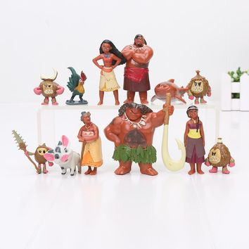 12pcs/lot Moana Maui Chief Tui Sina PVC Action Figures Gramma Tala Heihei Statue Anime Figurines Dolls Kids Toys for Boys Girls