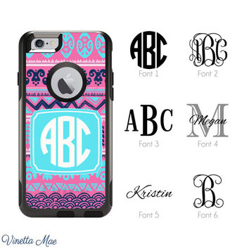 iPhone Otterbox Commuter Series Case for iPhone 5/5s, 6/6s, 6 Plus/6s Plus Monogrammed Aztec Tribal Initials Personalized Phone Case 1119