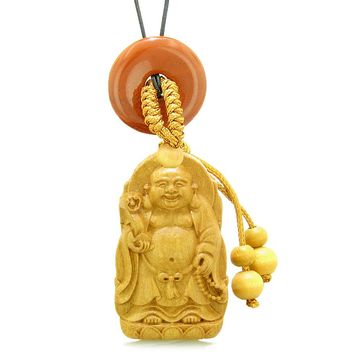 Laughing Buddha Blooming Lotus Car Charm Home Decor Red Jasper Coin Donut Protection Powers Amulet