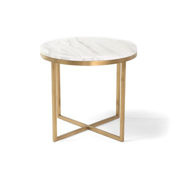 RST Brands Valentina Marble/Stainless Steel 18-inch Satellite Side Table | Overstock.com Shopping - The Best Deals on Coffee, Sofa & End Tables