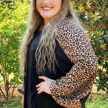 Leap Into Gameday Leopard Sleeve Waffle Longlseeve Top l Plus Size