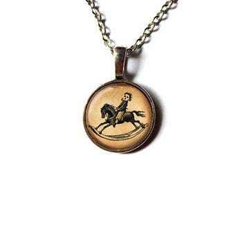Toy horse necklace Victorian jewelry Antique pendant NW261
