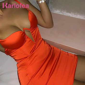 Karlofea Underwired Satin Mini Dress Women Sexy Strap Backless Cut Out Bodycon Club Night Party Dress Ladies Chic Outwear Dress